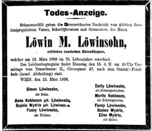 Obit from Viennese newspaper, 1898, showing family members