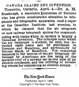 Rosebrugh NYT 1886