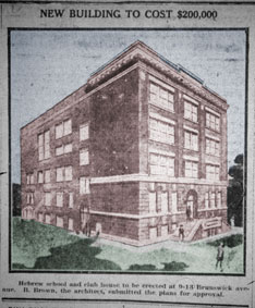 Sketch of Brown's Brunwick Talmud Torah, 1920