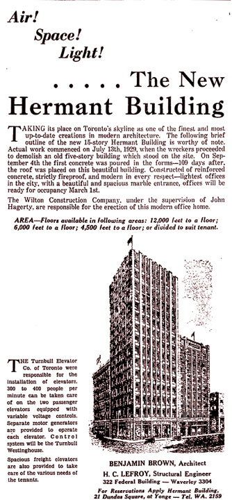 Herman Building advertisement